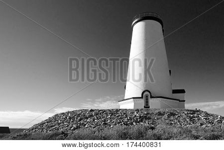 Black and white - Lighthouse at Piedras Blancas point on the Central California Coast north of San Simeon California USA