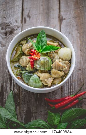 Thai Chicken Green Curry. Famous Thai Tradition Food. Image for Food Advertise in Nostalgic Concept and Rustic Vintage Tone