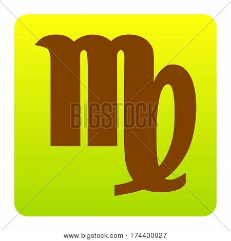 Virgo sign illustration. Vector. Brown icon at green-yellow gradient square with rounded corners on white background. Isolated.