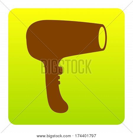Hair Dryer sign. Vector. Brown icon at green-yellow gradient square with rounded corners on white background. Isolated.