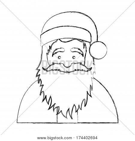 silhouette blurred half body cartoon santa claus portrait icon vector illustration