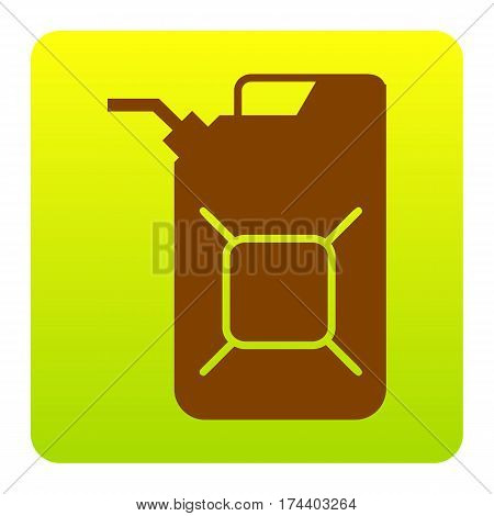 Jerrycan oil sign. Jerry can oil sign. Vector. Brown icon at green-yellow gradient square with rounded corners on white background. Isolated.