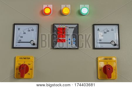 Volt and amp meter switching button on electric control panel, For machine control.