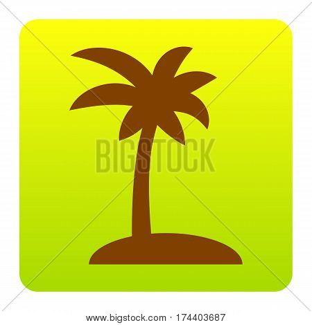 Coconut palm tree sign. Vector. Brown icon at green-yellow gradient square with rounded corners on white background. Isolated.