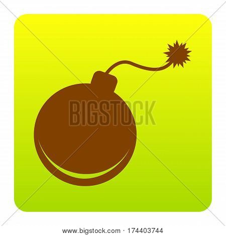 Bomb sign illustration. Vector. Brown icon at green-yellow gradient square with rounded corners on white background. Isolated.