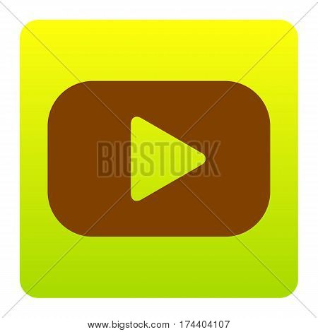 Play button sign. Vector. Brown icon at green-yellow gradient square with rounded corners on white background. Isolated.