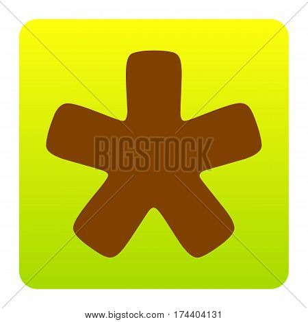 Asterisk star sign. Vector. Brown icon at green-yellow gradient square with rounded corners on white background. Isolated.