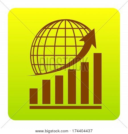 Growing graph with earth. Vector. Brown icon at green-yellow gradient square with rounded corners on white background. Isolated.