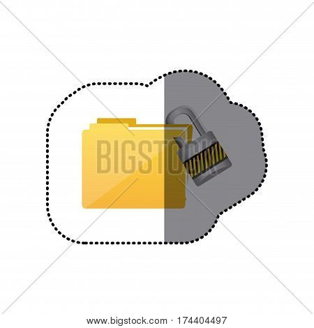 sticker colorful folder wit paclock closed vector illustration