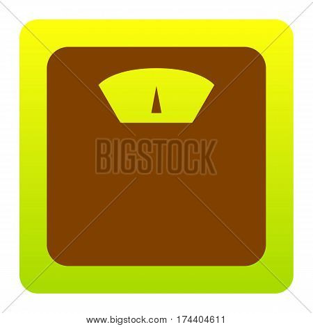 Bathroom scale sign. Vector. Brown icon at green-yellow gradient square with rounded corners on white background. Isolated.
