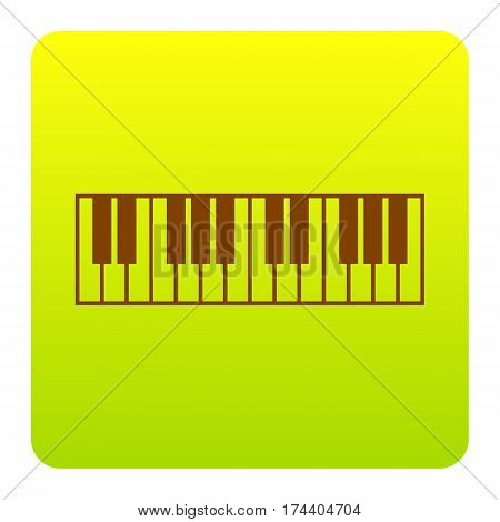 Piano Keyboard sign. Vector. Brown icon at green-yellow gradient square with rounded corners on white background. Isolated.