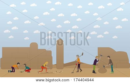 Archaeological excavation concept vector illustration in flat style. Archaeologists, remains of settlements, archaeological tools.