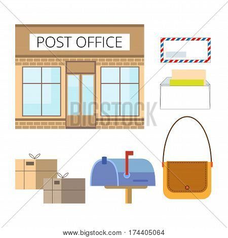 Set of Postal Service objects: Mail, envelope, writing, sending, postbox, bag. Illustration in style flat