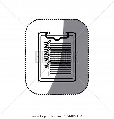 sticker silhouette table notepad with check list vector illustration