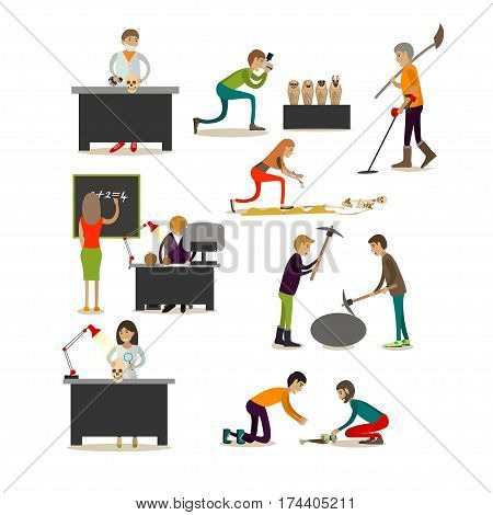 Vector set of archaeologists, scientists isolated on white background. People engaged in archaeological research, excavations. Flat style design elements.