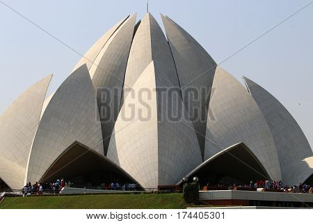 Lotus Temple - the main temple of the Bahai religion in India, located in New Delhi - the capital of India.