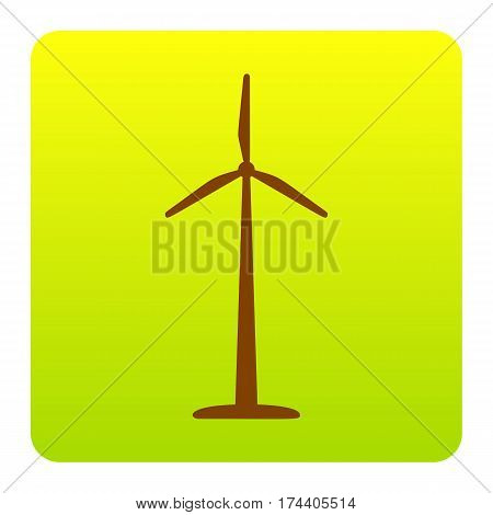Wind turbine logo or sign. Vector. Brown icon at green-yellow gradient square with rounded corners on white background. Isolated.