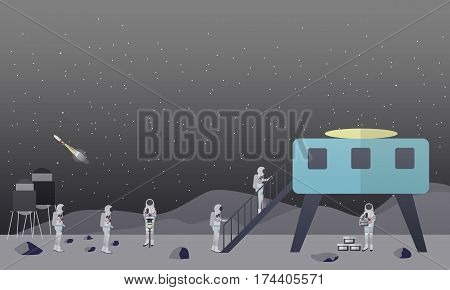 Vector illustration of astronauts landing on the Moon surface, space base. Moon exploration concept design element in flat style.