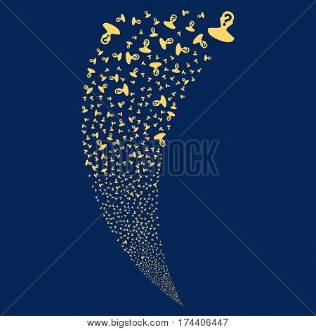 Unknown Person random fireworks stream. Vector illustration style is flat yellow iconic symbols on a blue background. Object fountain constructed from scattered design elements.