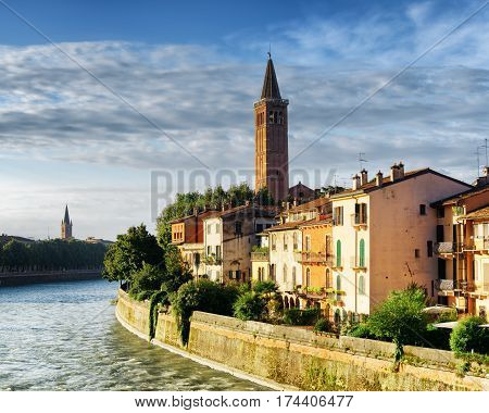 Colorful Facades Of Houses On Waterfront Of Adige River, Verona