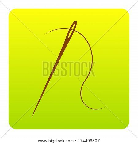 Needle with thread. Sewing needle, needle for sewing. Vector. Brown icon at green-yellow gradient square with rounded corners on white background. Isolated.
