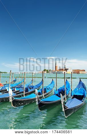 View Of Gondolas And The Venetian Lagoon In Venice, Italy