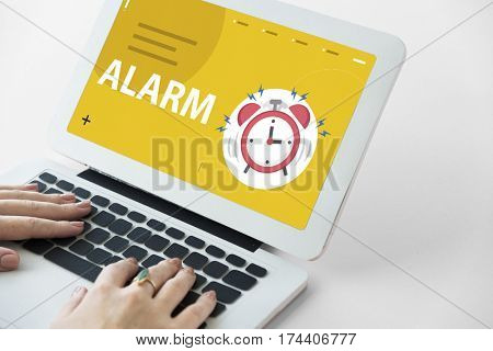 Graphic of instrument of time alarm clock beating for wake up