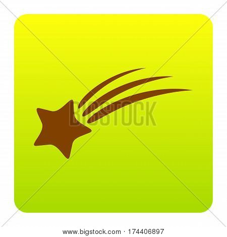 Shooting star sign. Vector. Brown icon at green-yellow gradient square with rounded corners on white background. Isolated.