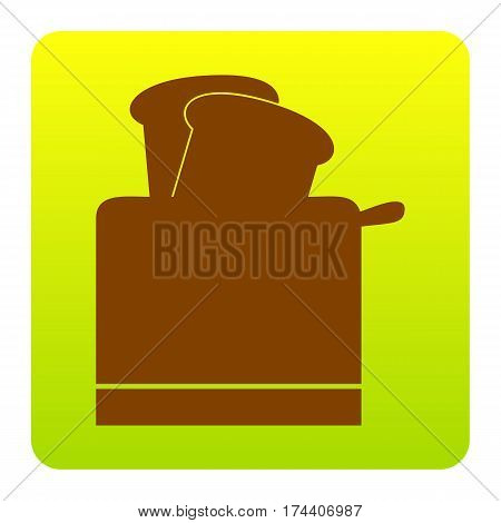 Toaster simple sign. Vector. Brown icon at green-yellow gradient square with rounded corners on white background. Isolated.