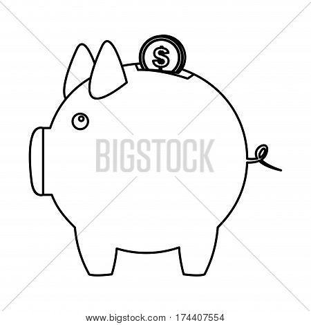 silhouette piggy bank with dollar coin icon vector illustration