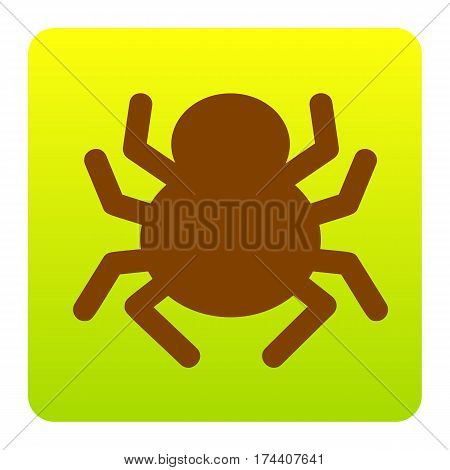 Spider sign illustration. Vector. Brown icon at green-yellow gradient square with rounded corners on white background. Isolated.