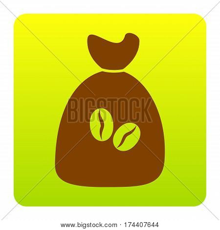 Coffee bag Icon. Coffee bag Vector. Coffee bag Icon Button. Vector. Brown icon at green-yellow gradient square with rounded corners on white background. Isolated.