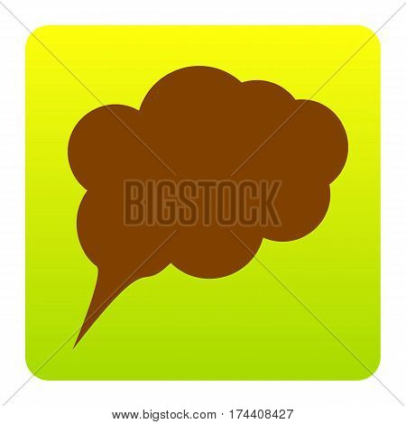 Speach bubble sign illustration. Vector. Brown icon at green-yellow gradient square with rounded corners on white background. Isolated.