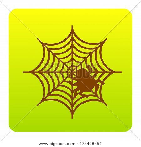 Spider on web illustration Vector. Brown icon at green-yellow gradient square with rounded corners on white background. Isolated.