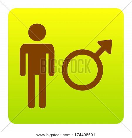 Male sign illustration. Vector. Brown icon at green-yellow gradient square with rounded corners on white background. Isolated.