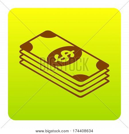 Bank Note dollar sign. Vector. Brown icon at green-yellow gradient square with rounded corners on white background. Isolated.