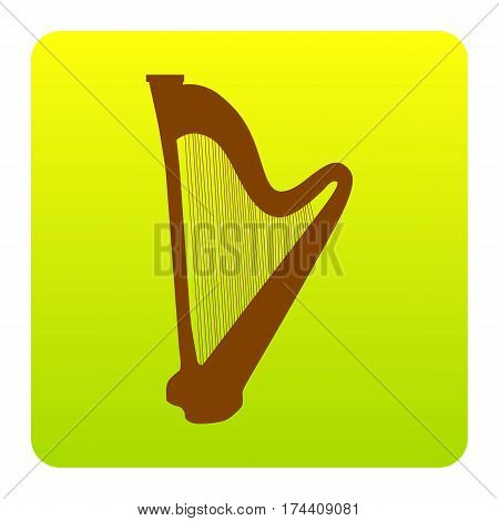 Musical instrument harp sign. Vector. Brown icon at green-yellow gradient square with rounded corners on white background. Isolated.
