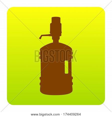 Plastic bottle silhouette with water and siphon. Vector. Brown icon at green-yellow gradient square with rounded corners on white background. Isolated.