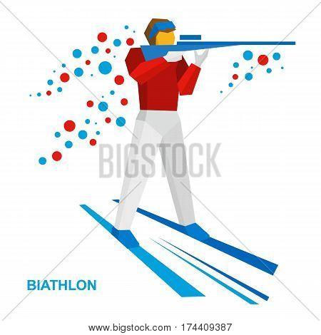 Biathlon. Cartoon Biathlete Shoots A Rifle Standing On Skis