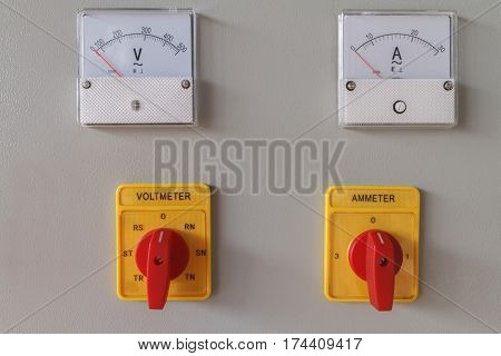 Volt and Amp meter switching button on electric control panel, Machine controller.