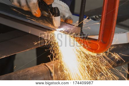 Manual Plasma Cutting Machine in Steel Manufacturing Industry.
