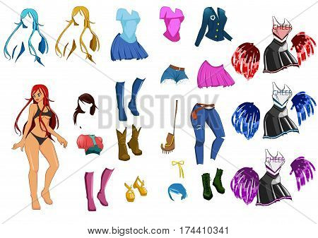 vector cute dress up game paper doll body template