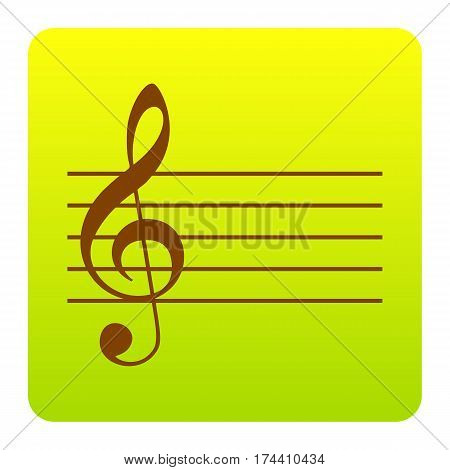 Music violin clef sign. G-clef. Vector. Brown icon at green-yellow gradient square with rounded corners on white background. Isolated.