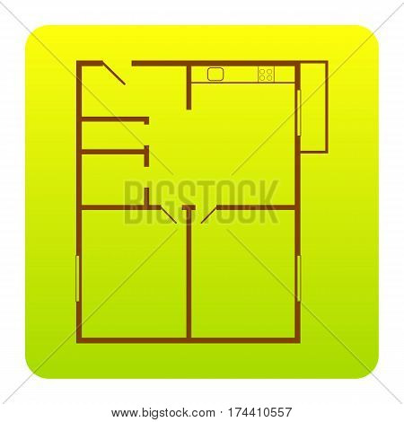 Apartment house floor plans. Vector. Brown icon at green-yellow gradient square with rounded corners on white background. Isolated.