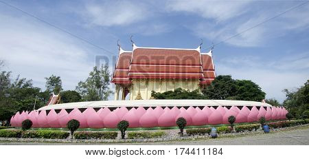 Beautiful Ubosot Or Church Of Wat Muang For People Praying And Visit