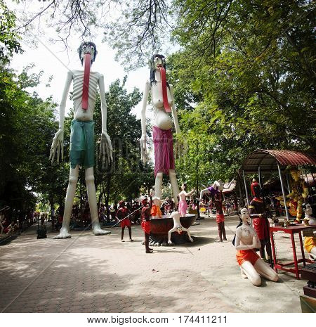 People Pray And Visit Statues Of Ghost And Zombie (preta) In Place Of Departed Spirits Or Hell Land