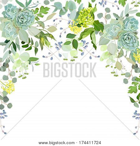 Semicircle garland herbal frame arranged from plants, branches, leaves, succulents and flowers on white background. Echeveria, eucalyptus, green hygrangea. All elements are isolated and editable.
