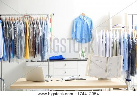 Interior in dry-cleaning salon
