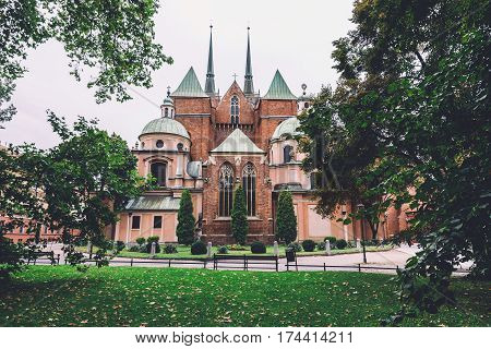 Gothic cathedral of St. John the Baptist in Wroclaw, Poland on Tumski island. Seat of the Roman Catholic Archdiocese of Wroclaw and one of the most famous landmarks and tourist attractions in city.