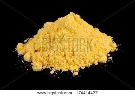 Mustard Powder On Black Background